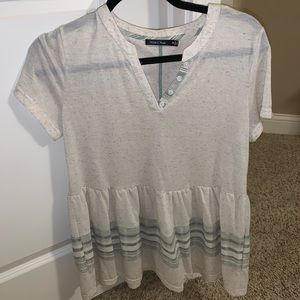 white and blue button up blouse peplum top